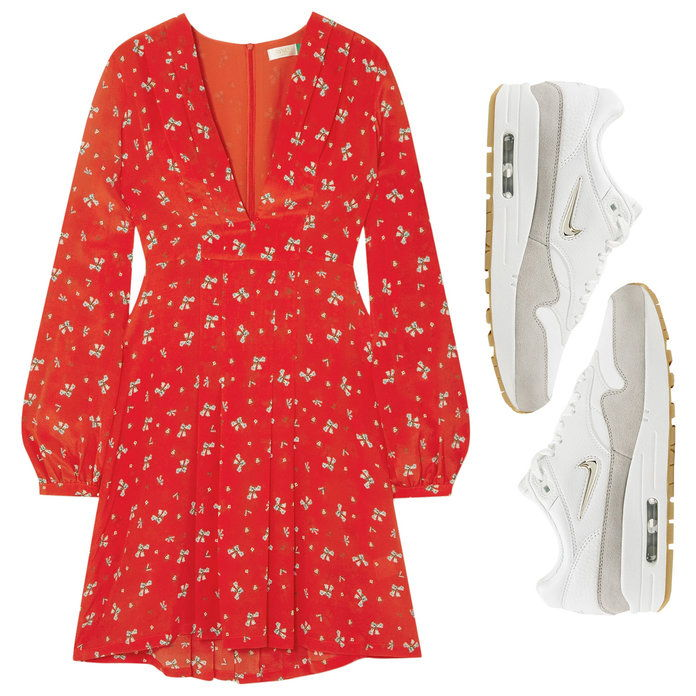 Ανθινος Print Dress with Leather Sneakers