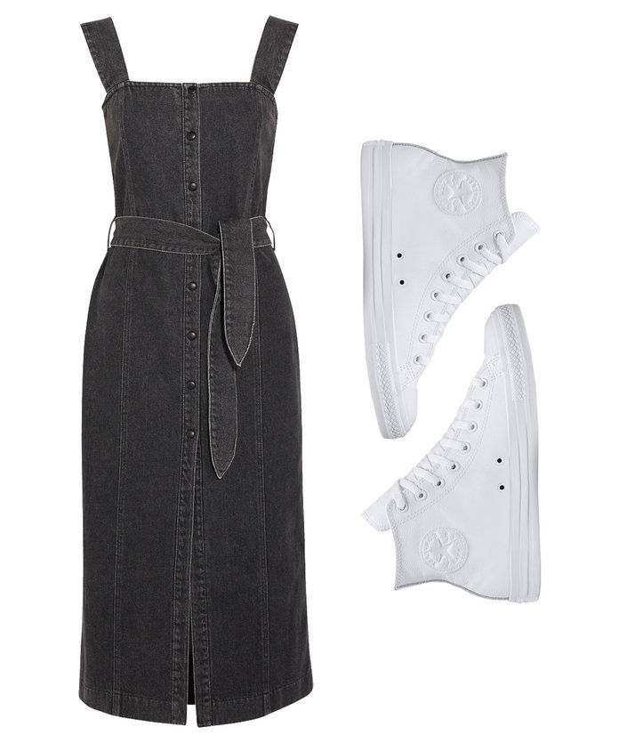 Τζην Midi Dress with Leather High Top Sneakers