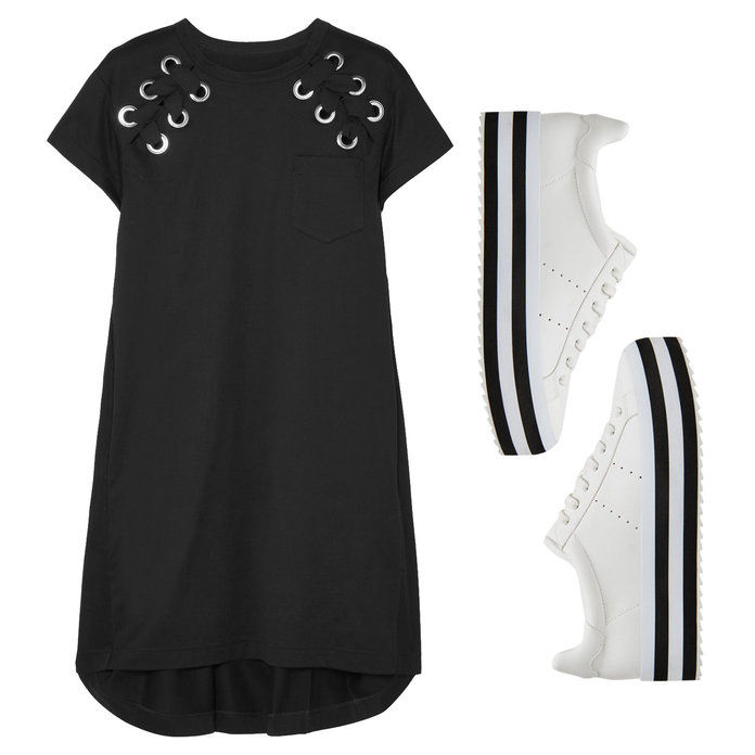 Βαμβάκι- Jersey Lace-up Dress with Platform Sneakers