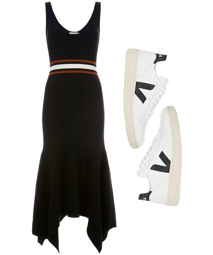 Πλέκω Dress with Leather Sneakers