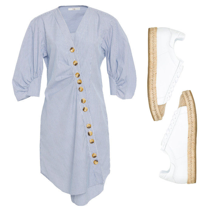 Ασύμμετρη Shirt Dress with Espadrille Sneakers