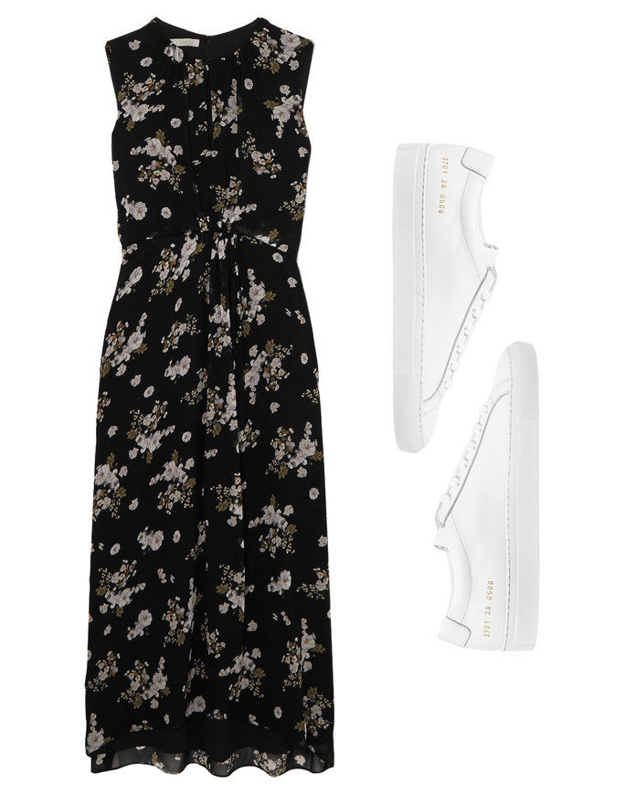 Ανθινος Print Dress with White Leather Sneakers