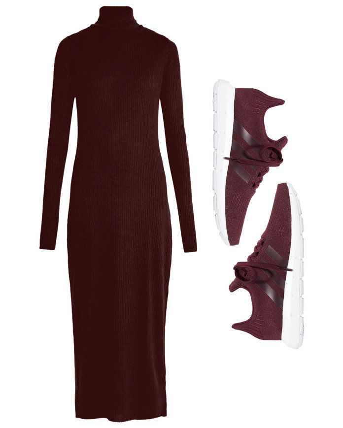 Πλευρωτός Cashmere Dress with Knit Sneakers
