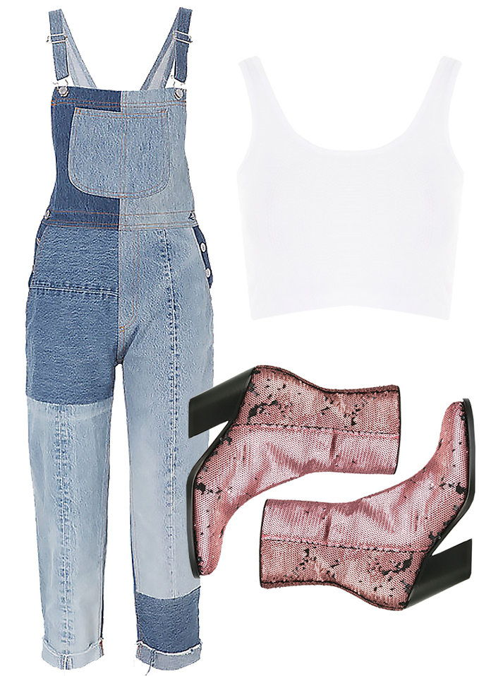 Τζαζ up your overalls with glitter boots.