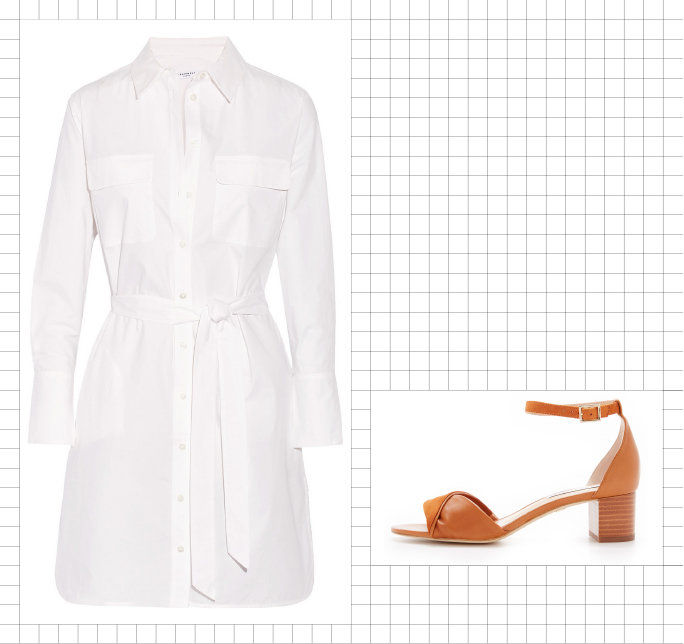 Shirtdress + Block-Heel Sandal
