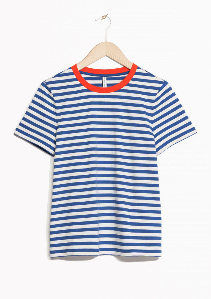 контраст Neck Striped Tee