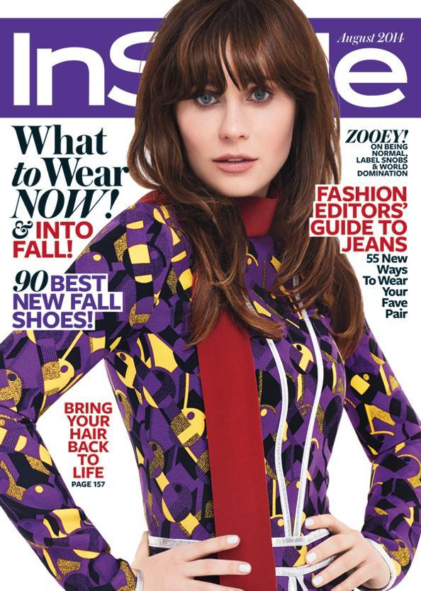 Зоуи Deschanel August 2014 InStyle cover