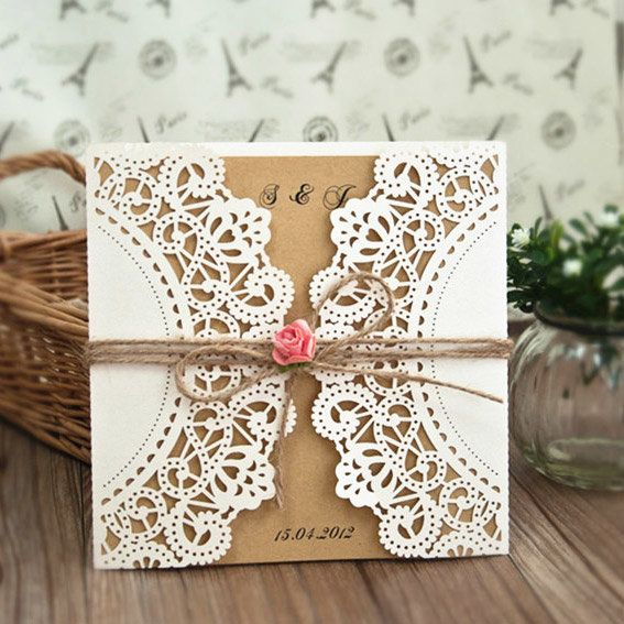 χαρτί flower laser-cut invitation