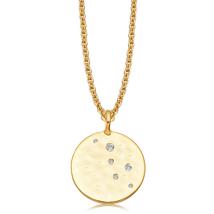 злато Pave Hammered Disc Necklace