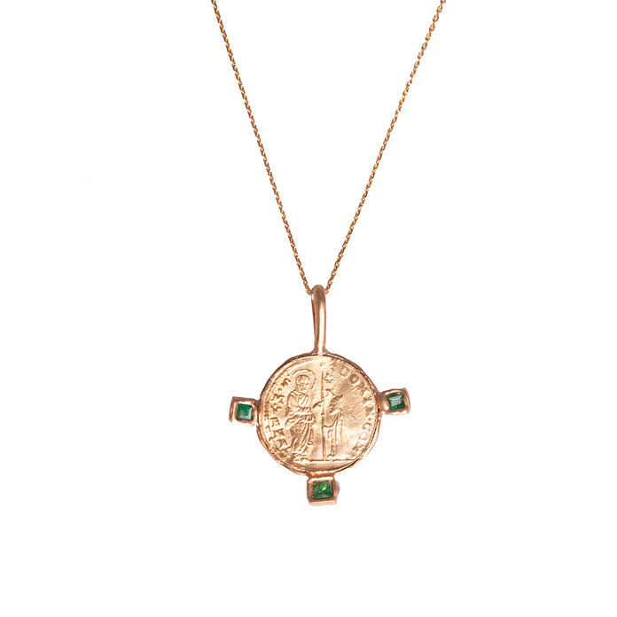византийски Coin Medal Pendant with emeralds