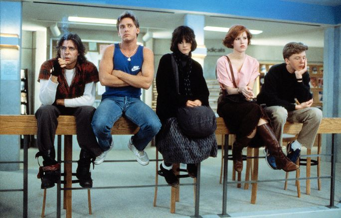 Ο BREAKFAST CLUB, Judd Nelson, Emilio Estevez, Ally Sheedy, Molly Ringwald, Anthony Michael Hall, 1985. ©Universal Pictures/Courtesy Everett Collection