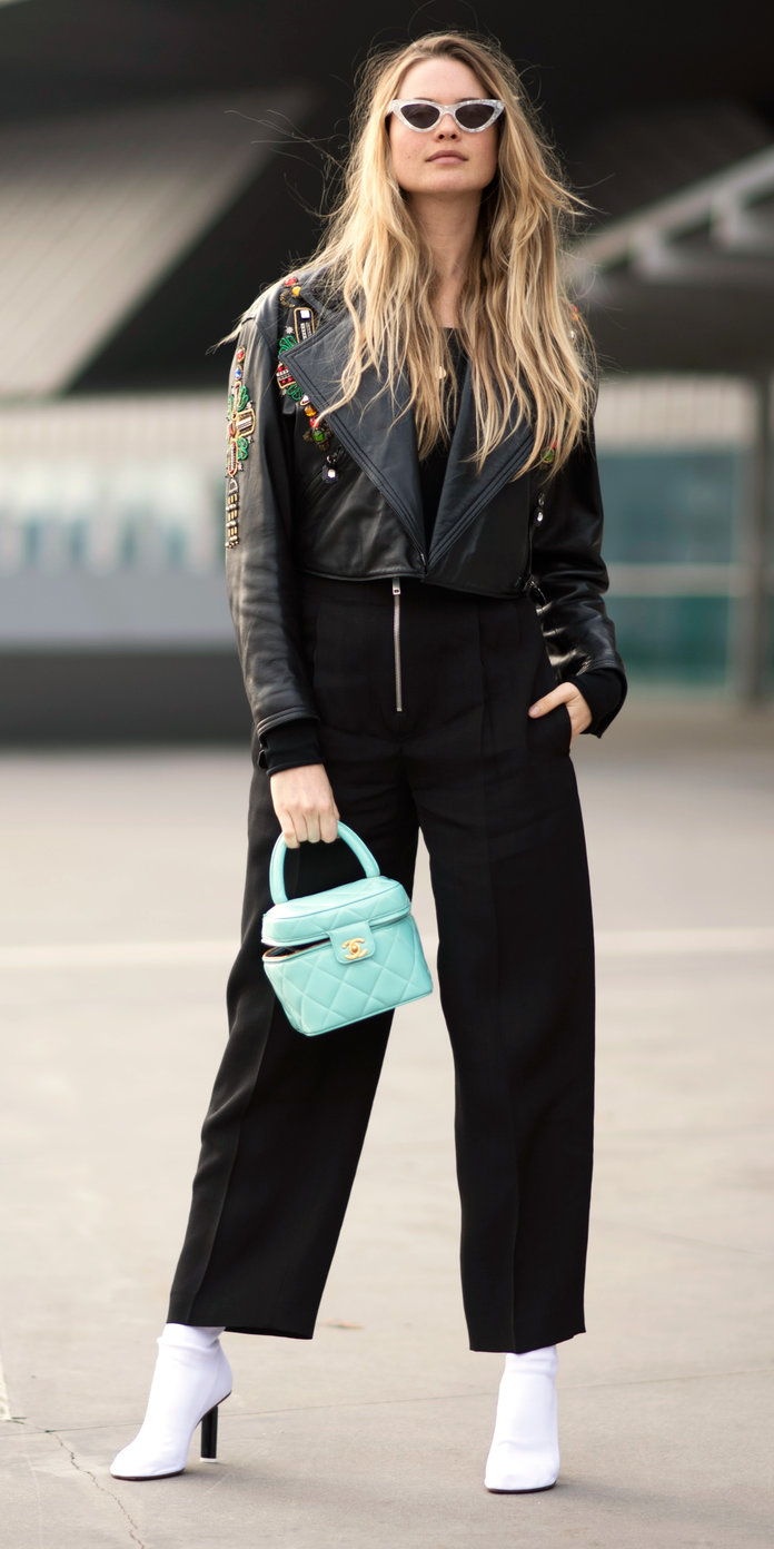 Behati Prinsloo with a pop-of-color bag