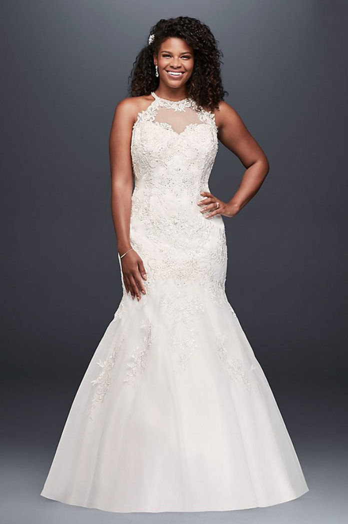 Κόσμημα Illusion Halter Lace Plus Size Wedding Dress