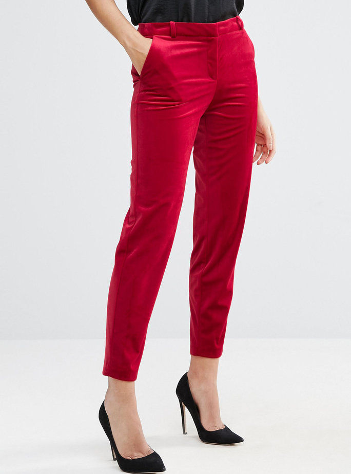 ASOS red velvet pants