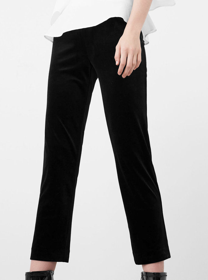 манго black velvet trousers