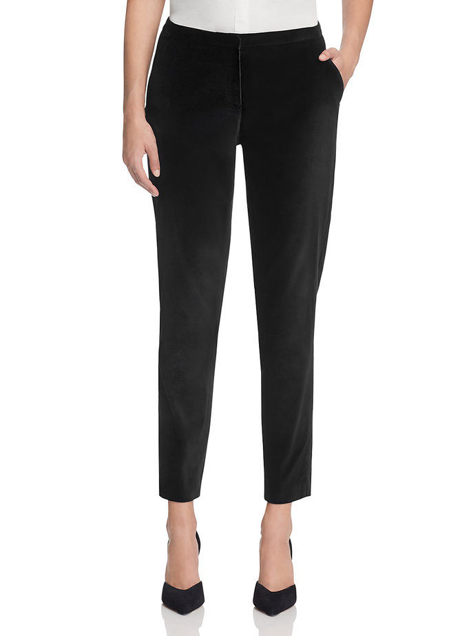 T Tahari black velvet tapered pants