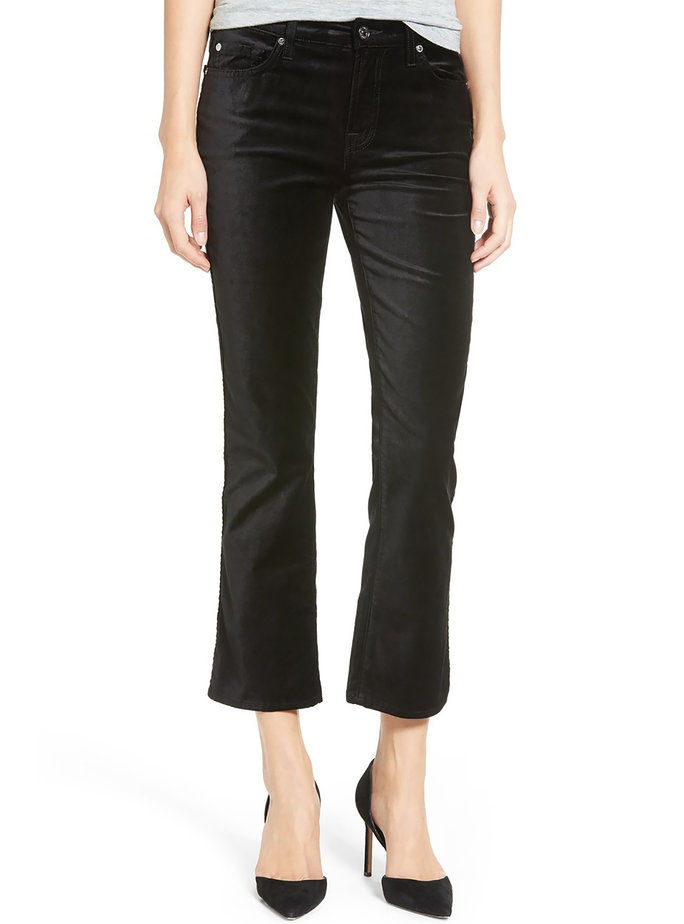 7 For All Mankind black, cropped flare velvet pants