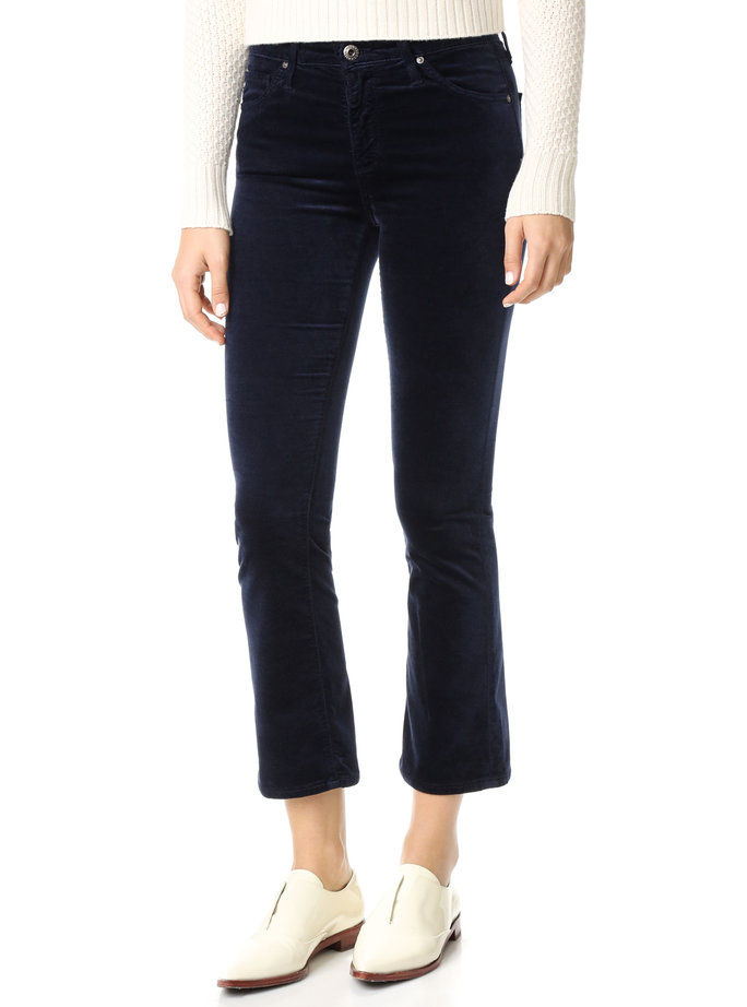 AG Navy Blue Cropped Velvet Pants