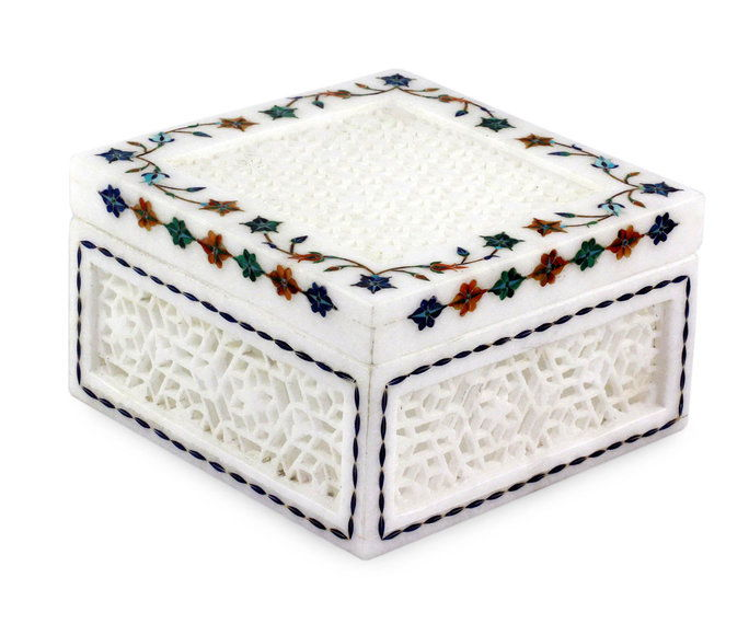 индийски Marble Inlay Jali Jewelry Box