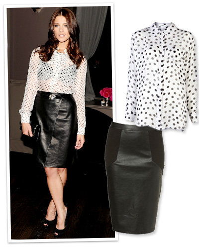 Ашли Greene in a Polka-Dot Blouse and Leather Skirt
