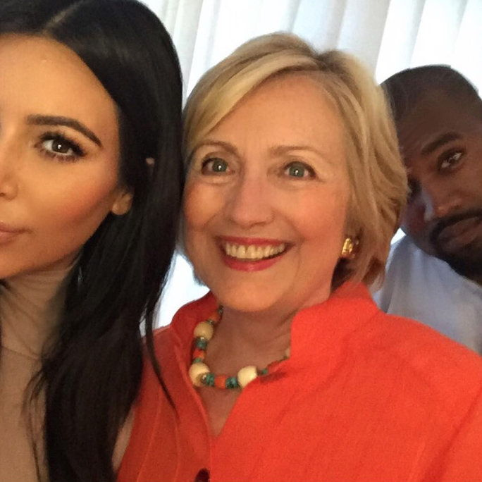 Ким Kardashian, Hillary Clinton, and Kanye West