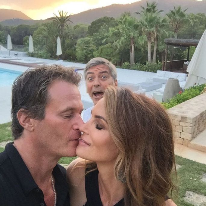 Джордж Clooney, Cindy Crawford, and Rande Gerber