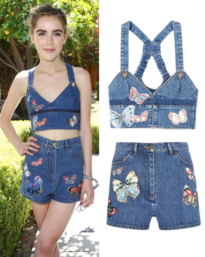 Kiernan Shipka in Valentino top and shorts