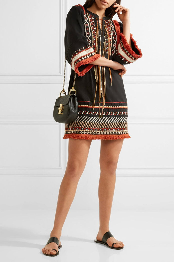 Рейчъл Zoe Bianca embellished embroidered cotton-voile mini dress