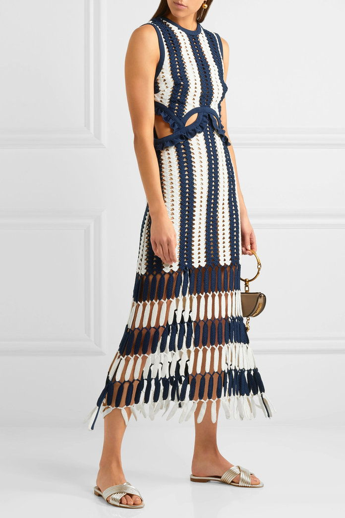 себе си Portrait Striped crochet-knit midi dress