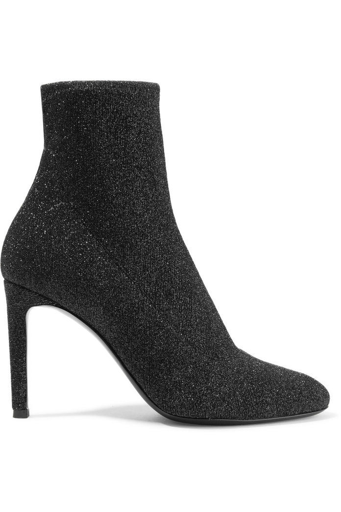 Джузепе Zanotti Natalie glittered stretch-knit ankle boots