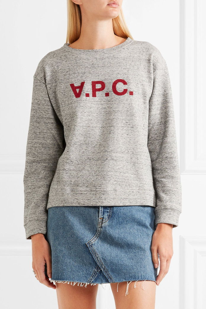 A.P.C. Atelier de Production et de Creation Ethel flocked cotton-blend jersey sweatshirt