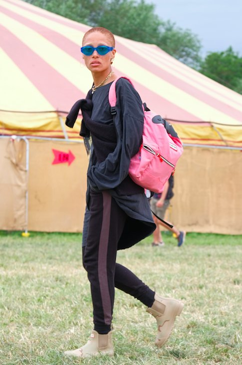 Adowa Aboah going matchy matchy with her Hunter Orignal boots and backpack at Glastonbury 2017