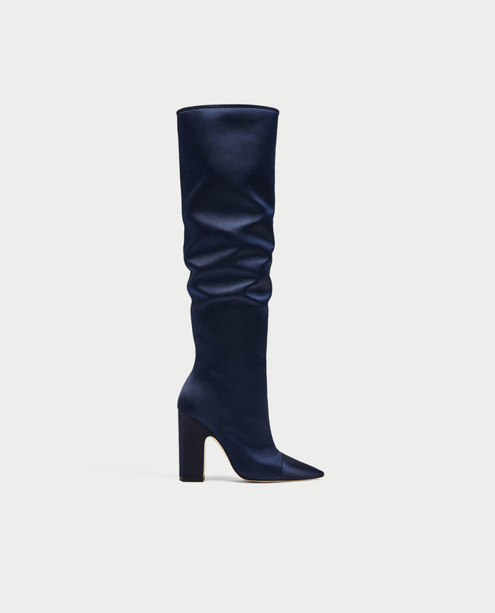 zara SATEEN HIGH HEEL BOOTS