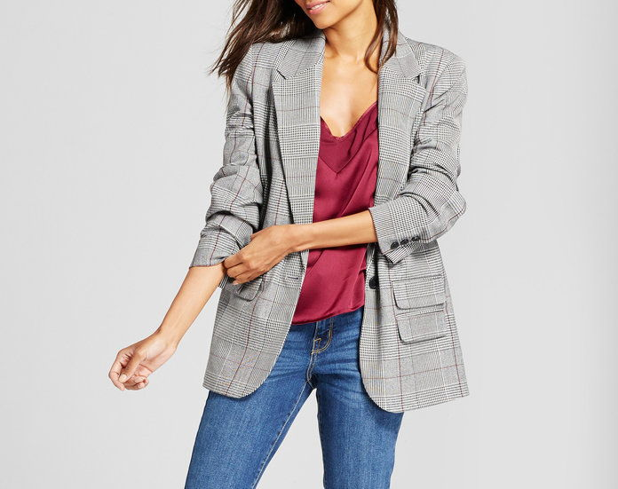 А New Day Plaid Boyfriend Blazer