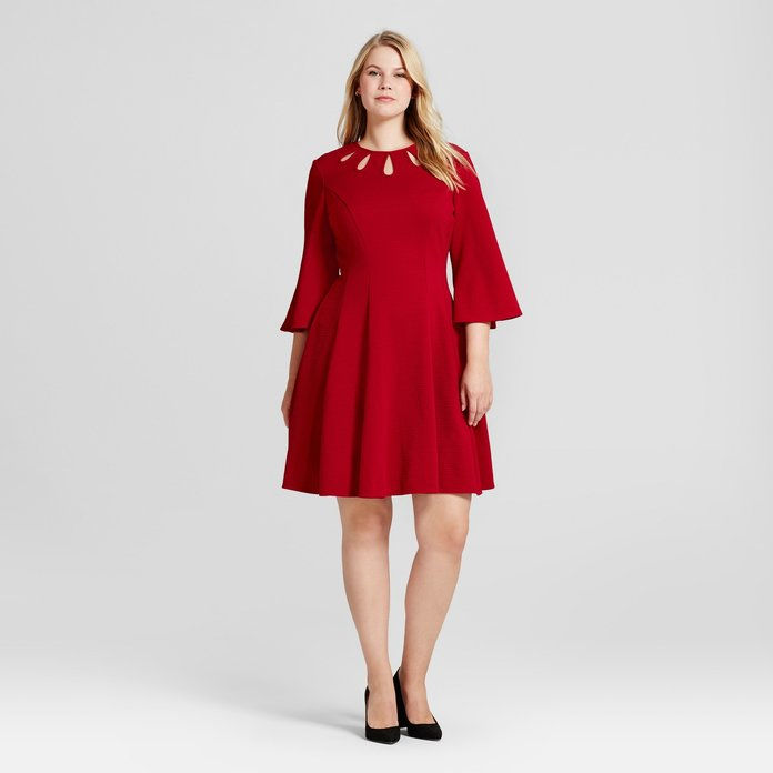 Melonie T Sleeve Fit and Flare A Line Dress
