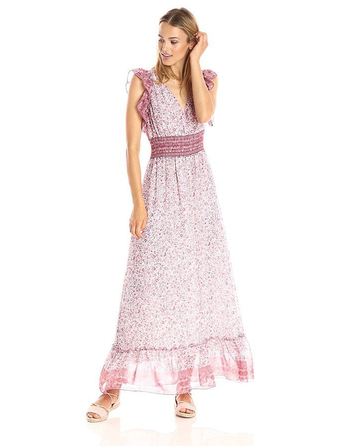 тя Moon Lacey Ruffle Trim Sleeveless Vneck Smocked Waist Maxi Dress